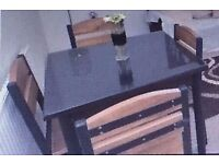 Glass top wood effect square dining table & four chairs ideal small room