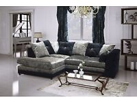 huge sale new dylan glitz crushed velvet corner sofa black and silver so cheap !
