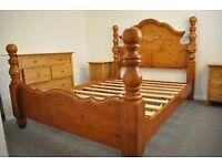Beautiful King Size Bed Frame - Carved Dutch Pine.