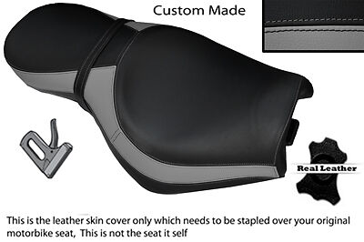 BLACK AND GREY CUSTOM FITS TRIUMPH ROCKET 111 3 DUAL LEATHER SEAT COVE