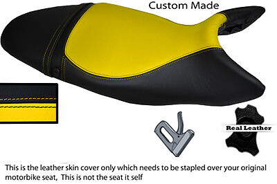 BLACK AND YELLOW 07 12 CUSTOM FITS TRIUMPH STREET TRIPLE 675 LEATHER S