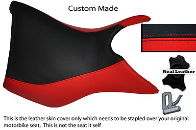 BLACK AND RED CUSTOM FITS TRIUMPH TIGER 800 LEATHER SEAT COVER