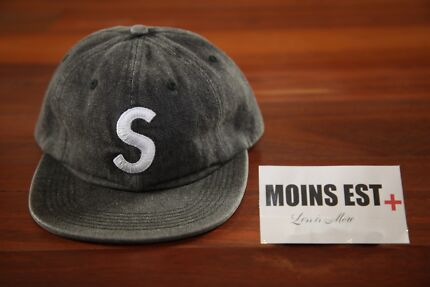 SUPREME Washed Denim S Logo Cap - Black
