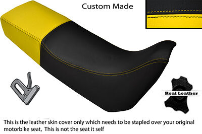 BLACK AND YELLOW CUSTOM FITS TRIUMPH TIGER 885 I DUAL LEATHER SEAT COV