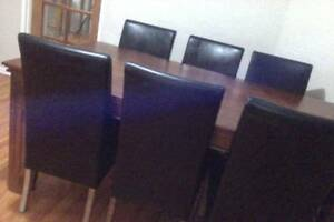 DINING TABLE 6 GENUINE LEATHER CHAIRS URGENT MUST SELL