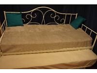 Lovely White Metal Day Bed with Trundle and Mattresses