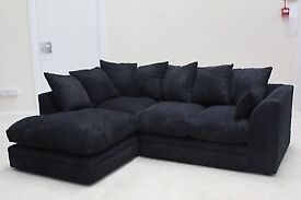 Jumbo cord Fabric - Brand New Byron Cord + Leather Corner Sofa Or 3 +2 Seater Sofa