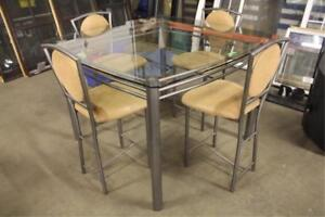 Glass Pub Style Table with 4 Stools