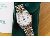 ♛ Rolex 16233 DateJust 36mm 18K Gold Steel Custom Diamond Dial Watch MINT COND