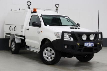 2013 Toyota Hilux KUN26R MY12 SR (4x4) White 5 Speed Manual Cab Chassis