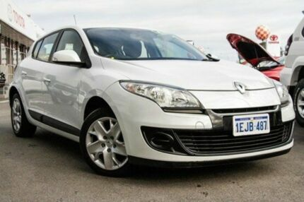 2013 Renault Megane III B95 MY13 Expression Pearl White 6 Speed Manual Hatchback Glendalough Stirling Area Preview