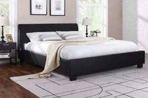 6xbrand new black leather modern design double size bed with used Mont Albert Whitehorse Area Preview
