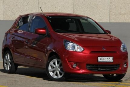 2015 Mitsubishi Mirage LA MY15 LS Red Continuous Variable Hatchback Wolli Creek Rockdale Area Preview