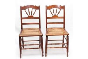 Pair of Spindle Chairs with Cane Seats