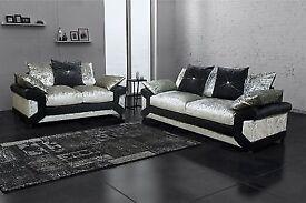 ⭕🛑SUPERB BLACK SILVER MIX⭕🛑BRAND NEW Dino Crush Velvet corner or 3+2 sofa - same day delivery
