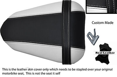 BLACK AND WHITE CUSTOM 08 12 FITS <em>YAMAHA</em> 600 YZF R6 REAR LEATHER SEAT