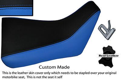 BLACK AND BLUE CUSTOM FITS <em>YAMAHA</em> FZR 600 89 99 FRONT LEATHER SEAT COV