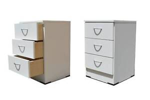 Bedside Chest- White Melamine- Fully Assembled Wangara Wanneroo Area Preview