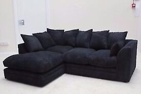 == QUICK DELIVERY= NEW DYLAN JUMBO CORD CORNER OR 3 AND 2 SOFA IN BLACK BEIGE BROWN AND GREY COLORS