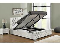 🔴🔵⚫BEST PRICE🔴🔵NEW CHESTERFIELD STORAGE CRUSHED VELVET BED FRAME SILVER, BLACK AND CREAM
