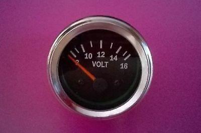 Volt Gauge , Volt Meter , 12 V volt gauge , 8 - 16 volt gauge black face chrome