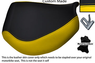 BLACK AND YELLOW CUSTOM FITS TRIUMPH TIGER 955I 01 06 FRONT LEATHER SE