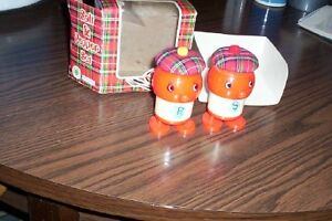 vintage salt & pepper shakers set Scottish men in tam