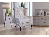 Cream Oyster New Merlin Luxury Crushed Velvet Fireside Wing Back Chair Armchair