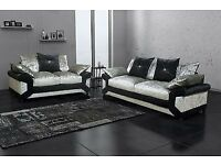 SAME OR NEXT DAY DROP--- BRAND NEW BLACK/SILVER DINO CRUSHED VELVET SOFA AVAILABLE IN CORNER OR 3+2