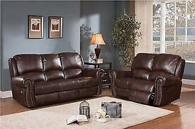 BRAND NEW 3 PLUS 2 SEATER SALISBURY BROWN LEATHER RECLINING SOFAS WITH MODERN STUDDED DESIGN FEATURE