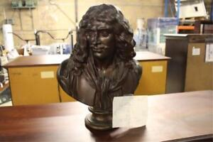 Antique French Bronze Bust Sculpture Moliere Signed Barbedienne