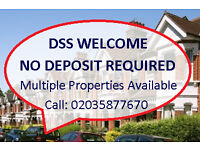 MULTIPLE PROPERTIES AVAILABLE - 1, 2, 3 & 4 BEDS - DSS WELCOME - NO DEPOSIT