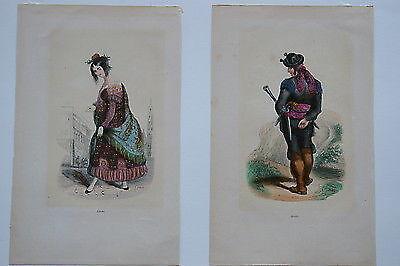 1848 -SPANISH SPAIN Costume GYPSY & BANDIT - 2 Watercolor Engravings