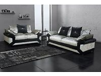 BEST SELLING BRAND -- BRAND NEW DINO CRUSHED VELVET SOFA | CORNER WITH FOOTSTOOL | 3 AND 2 SOFA |