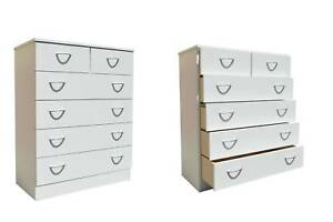 5 Drawer Tallboy- White Melamine- Fully Assembled Wangara Wanneroo Area Preview