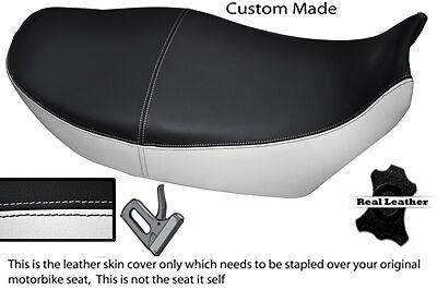 BLACK AND WHITE CUSTOM FITS <em>YAMAHA</em> XJ 900 F REAL LEATHER DUAL SEAT COV