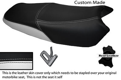 BLACK AND WHITE CUSTOM FITS <em>YAMAHA</em> YBR 125 05 09 DUAL LEATHER SEAT COV