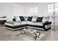 SPECIAL OFFER: CRUSH VELVET MAX DIAMOND CORNER SOFA/UNIT WITH EXPRESS DELIVERY!!!