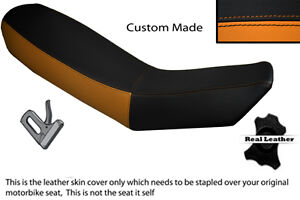 ORANGE & BLACK CUSTOM FITS KTM ADVENTURE 990 950 DUAL LEATHER SEAT COVER