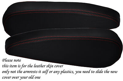 red stitch FITS CITROEN C4 PICASSO 2006+ 2X FRONT SEATS ARMREST LEATHER COVER