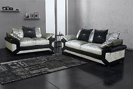 ⭕🛑BEST SELLING BRAND⭕🛑 BRAND NEW BLACK/SILVER DINO CRUSHED VELVET SOFA AVAILABLE IN CORNER OR 3+2