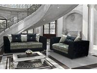 designer crushed velvet sofa set