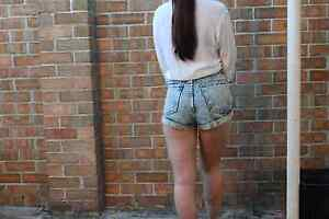 American Apparel Denim High Waist Blue Acid Wash Shorts