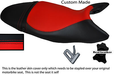 BLACK AND RED CUSTOM 07 12 FITS TRIUMPH STREET TRIPLE 675 LEATHER SEAT