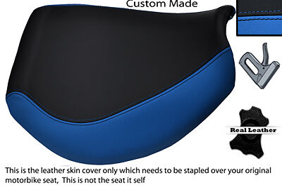 BLACK AND BLUE CUSTOM FITS TRIUMPH TIGER 955I 01 06 FRONT LEATHER SEAT