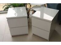 2x White ikea malm bedside drawers With GlassTops (£50)
