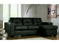 Rio Black Leather Corner Sofa