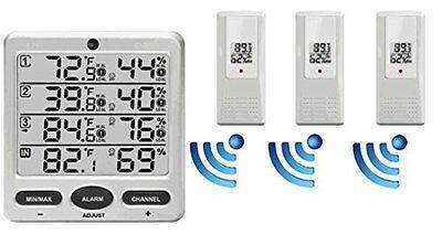 Thermometer Hygrometer Wireless New 3 Remote Sensors Indoor Outdoor Weathervanes