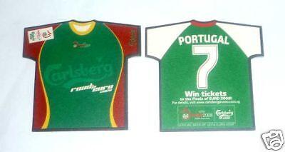 SINGAPORE Mat Coaster CARLSBERG BEER Euro 2008 PORTUGAL Shirt RARE Football image