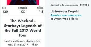 Paire de billet pour The Weeknd au Centre Videotron